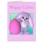 Tarjeta feliz del conejito del huevo de Pascua
