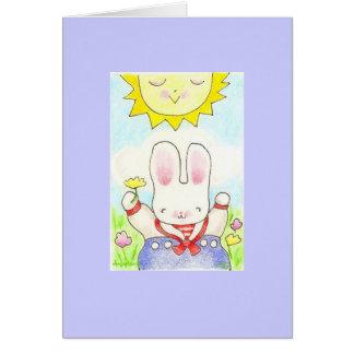 tarjeta feliz del conejito del muchacho del pensam