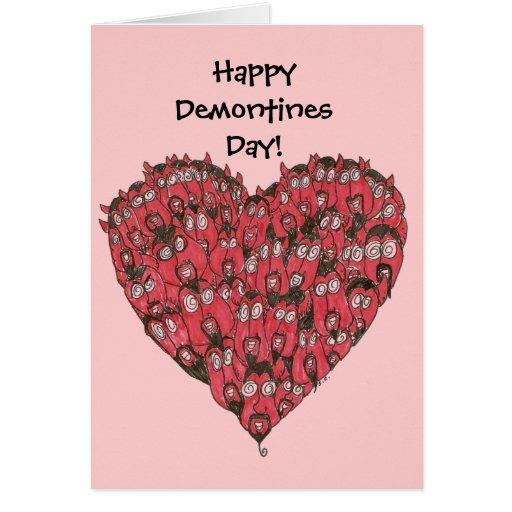 Tarjeta feliz del día de Demontines