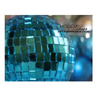 Tarjeta feliz del día de fiesta de la bola azul tarjetas postales