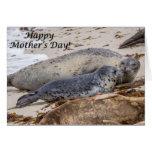 Tarjeta feliz del día de madre de cría de foca de