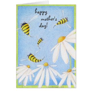 Tarjeta feliz del día de madre de la abeja