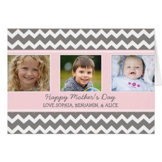 Tarjeta feliz del día de madre de la foto rosada d