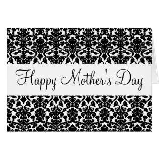 Tarjeta feliz del día de madre del damasco negro d