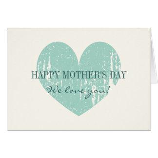 Tarjeta feliz del día de madres con el corazón del