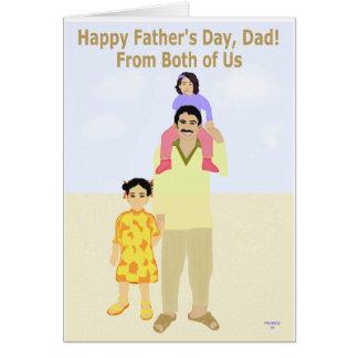 Tarjeta feliz del día de padre de los dos de