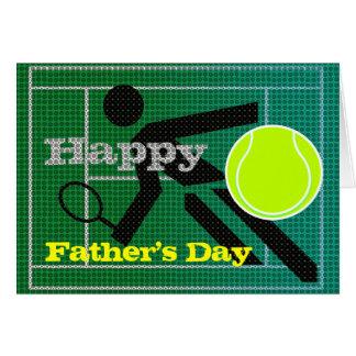 Tarjeta feliz del día de padre del papá del tenis