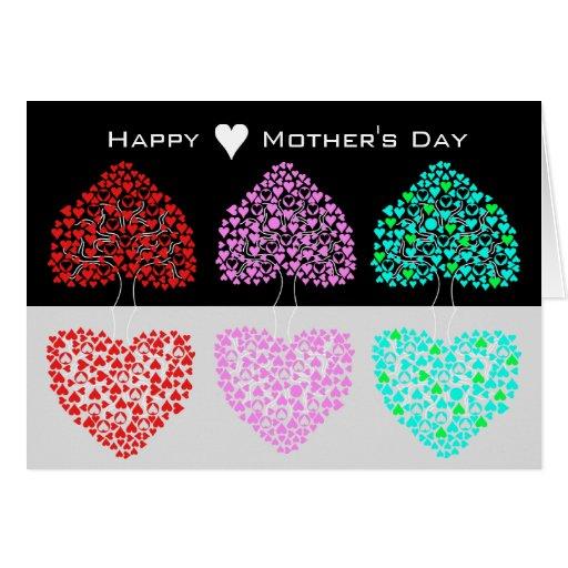Tarjeta feliz del día de tres del corazón madres d