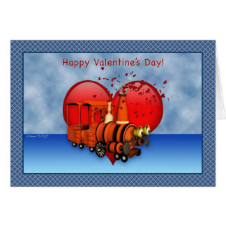 Tarjeta feliz del el día de San Valentín del tren