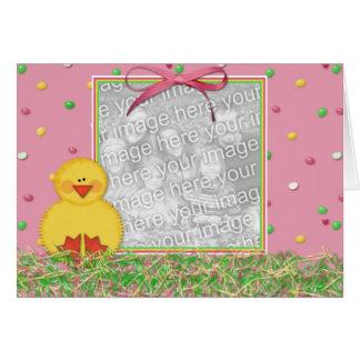 Tarjeta feliz del marco de la foto de Pascua