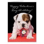 Tarjeta feliz del perrito del dogo del cumpleaños