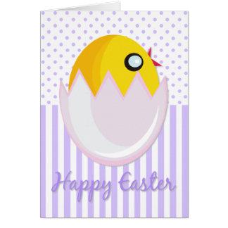Tarjeta feliz del polluelo de Pascua