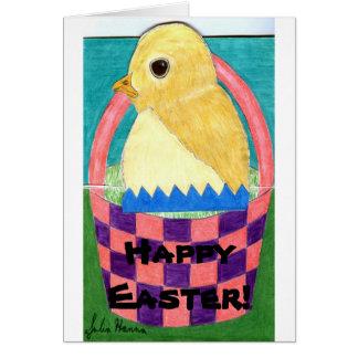 Tarjeta feliz del polluelo del bebé de Pascua de J
