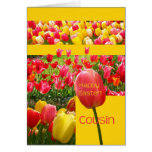 Tarjeta feliz del tulipán de Pascua del primo