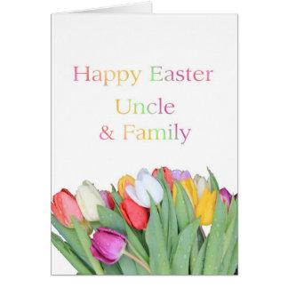 Tarjeta feliz del tulipán de Pascua del tío y de l