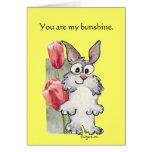 Tarjeta feliz del tulipán del conejo de Pascua Bun