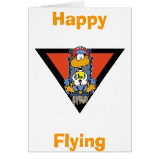 Tarjeta feliz del vuelo del pato cómico de Seat de