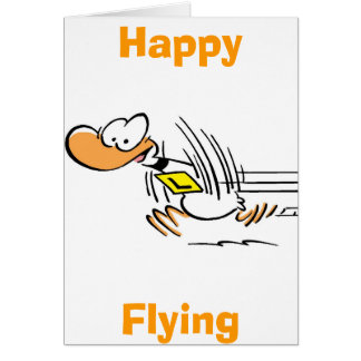 Tarjeta feliz del vuelo del pato del dibujo