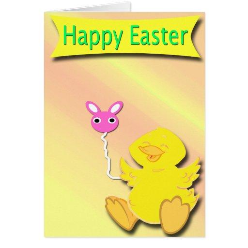 Tarjeta feliz feliz del pato de Pascua con el glob