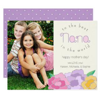"""Tarjeta feliz floral preciosa de Nana del día de Invitación 4.25"""" X 5.5"""""""