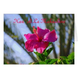 Tarjeta feliz hawaiana del hibisco de las rosas