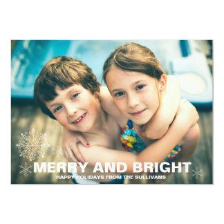 """Tarjeta feliz y brillante de la foto del navidad invitación 5"""" x 7"""""""