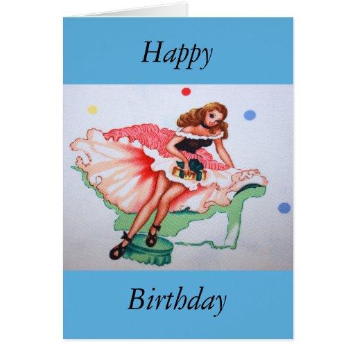 Tarjeta femenina del feliz cumpleaños de la tela d