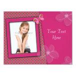 Tarjeta femenina rosada de la foto invitaciones personalizada