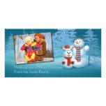 Tarjeta festiva de la foto de los muñecos de nieve plantilla para tarjeta de foto