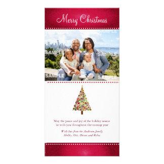 Tarjeta festiva de la foto del navidad del árbol tarjetas fotograficas