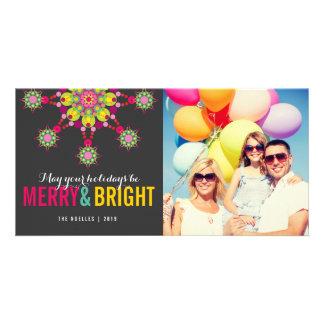 Tarjeta festiva feliz y brillante de la foto del tarjetas fotográficas personalizadas