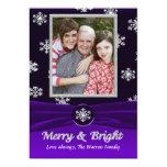 Tarjeta festiva púrpura y blanca de la foto de los anuncio