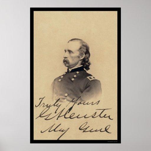Tarjeta firmada Custer 1866 de George Armstrong Póster