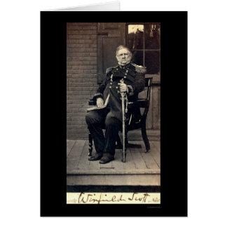 Tarjeta firmada de general Winfield Scott 1858