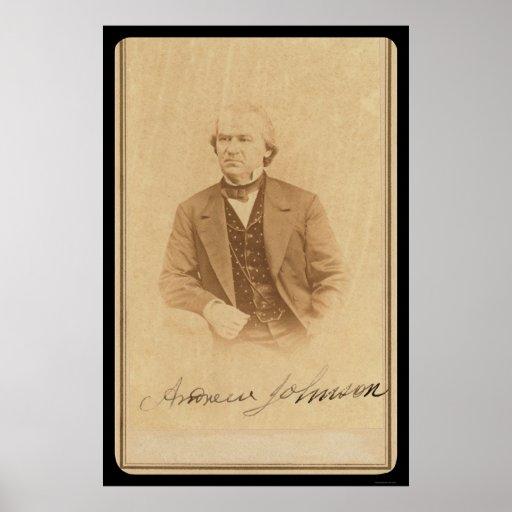 Tarjeta firmada de presidente futuro Johnson 1860 Posters