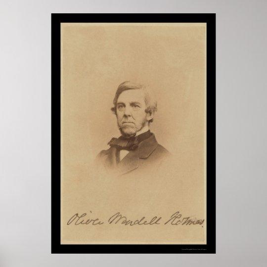 Tarjeta firmada Holmes 1875 de Oliverio Wendell Póster