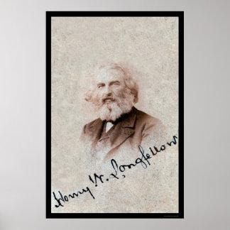 Tarjeta firmada Longfellow 1860 de Henry Poster