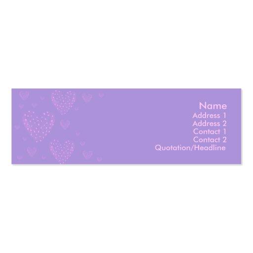 Tarjeta flaca 2 del corazón púrpura tarjetas de visita mini