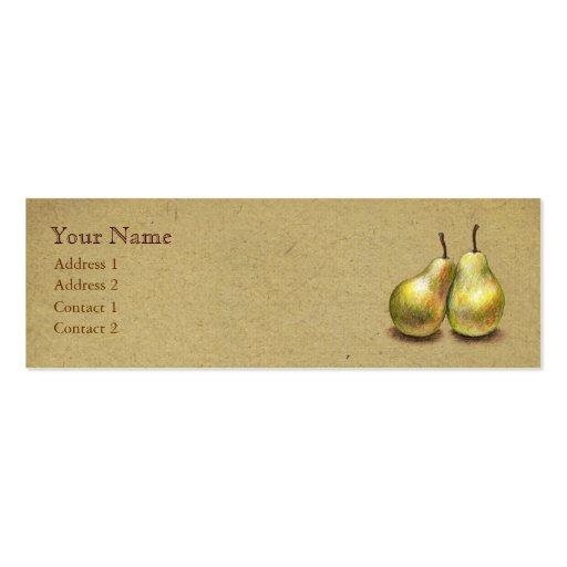 Tarjeta flaca de encargo de las peras de oro del tarjetas de visita mini