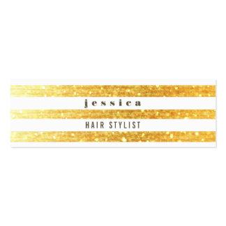 Tarjeta flaca del oro y del estilista de las rayas tarjetas de visita mini