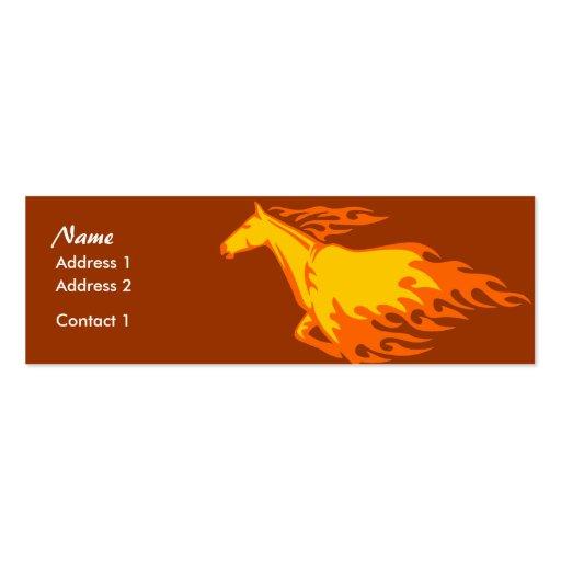 Tarjeta flaca del perfil - caballo llameante plantilla de tarjeta de visita