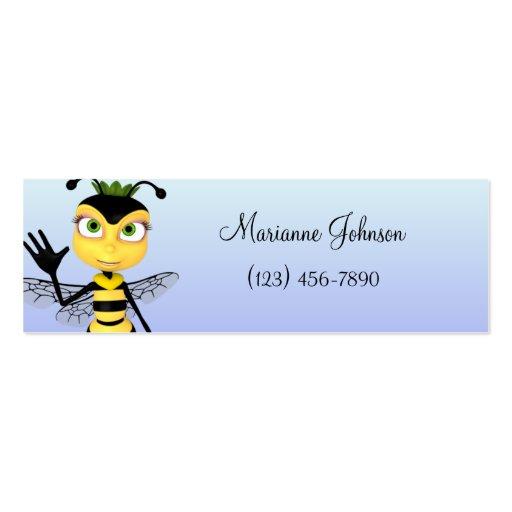 Tarjeta flaca del perfil de la abeja del dibujo an tarjeta personal