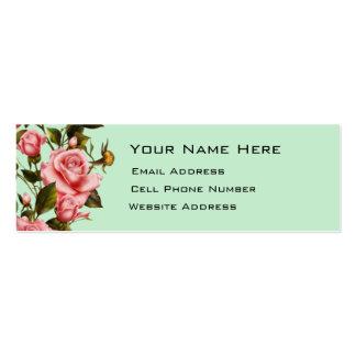 Tarjeta flaca del perfil de la vid color de rosa tarjetas de visita mini