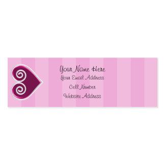 Tarjeta flaca del perfil del caramelo del corazón tarjetas de visita mini