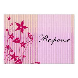 Tarjeta flor rosada y roja Butterfl del | de la Invitación 8,9 X 12,7 Cm