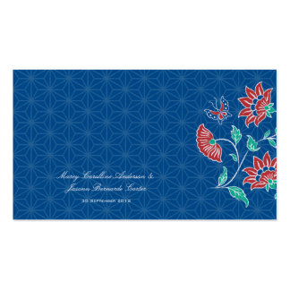 Tarjeta floral 2 del lugar del boda del batik de tarjetas de visita