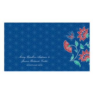 Tarjeta floral 3 del lugar del boda del batik de tarjetas de visita
