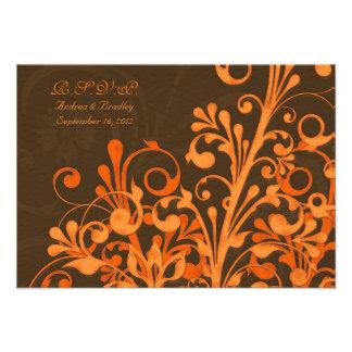 Tarjeta floral anaranjada de la respuesta del boda invitación