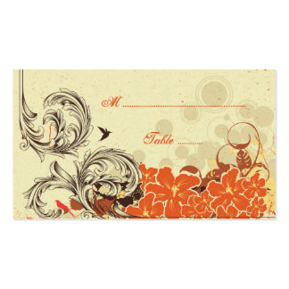 Tarjeta floral anaranjada del lugar del boda de la tarjeta de visita