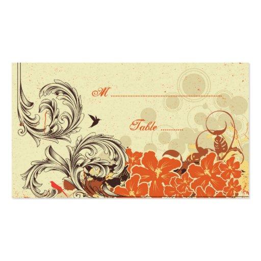 Tarjeta floral anaranjada del lugar del boda de la tarjetas de visita